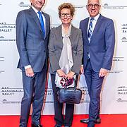 NLD/Amsterdam/20170320 - Onegin – Het Nationale Ballet premiere, Maurice Wijnen, partner Ronald den Ouden en Janine Klijburg - van den Ende