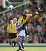 Photo: Lee Earle.<br /> Watford v Ipswich Town. Coca Cola Championship. 17/04/2006. Ipswich's Matt Richards (L) clashes with Al Bangura.
