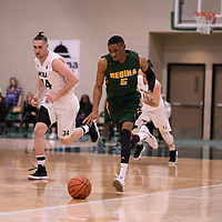 5th year guard Brandon Tull (5) of the Regina Cougars during the Men's Basketball home game on January 6 at Centre for Kinesiology, Health and Sport. Credit: Arthur Ward/Arthur Images