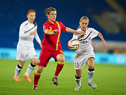 CARDIFF, WALES - Thursday, September 26, 2013: Wales' Hayley Ladd in action against Belarus during the FIFA Women's World Cup Canada 2015 Qualifying Group 6 match at the Cardiff City Stadium. (Pic by David Rawcliffe/Propaganda)
