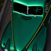 A Green 1940 Chevy 4 door, belonging to Terry Peck, from Cedar Rapids, Iowa, looks impressive from a bird's eye view..  The cars and their owners were in Des Moines over the 4th of July weekend for the Good Guys 16th Heartland Nationals held at the Iowa State Fairgrounds, bringing over 3,500 of the country?s hottest rods and coolest customs to Iowa?s Capital City.  ..Exhibitors are very skilled, multi-talented craftsmen. They dedicate thousands of hours to bring their hot rod or custom  autos to a high standard. Unlike many car shows the Good Guys usually drive both to and from the event...Photo by David Peterson