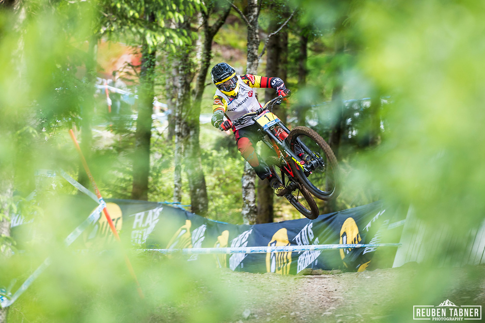 Alexandre Fayolle the current series leader during his race run at the UCI Mountain Bike World Cup in Fort William.