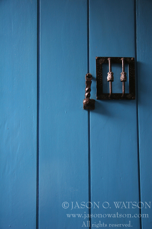 Blue door in Cusco, Peru<br />