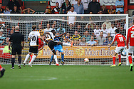 Port Vale&rsquo;s Jordan Slew shoots wide of goal. Skybet football league one match, Crewe Alexandra v Port Vale at the Alexandra Stadium in Crewe on Saturday 13th Sept 2014.<br /> pic by Chris Stading, Andrew Orchard sports photography.