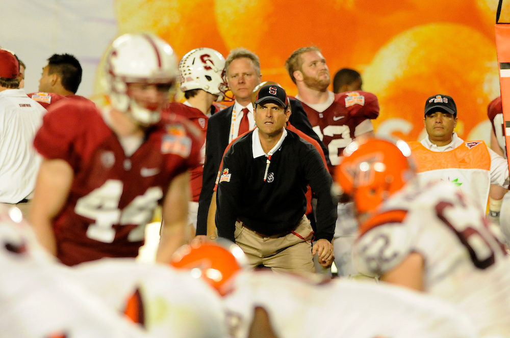 January 3, 2011: Head coach Jim Harbaugh of the Stanford Cardinal in action during the NCAA football game between the Stanford Cardinal and the Virginia Tech Hokies at the 2011 Orange Bowl in Miami Gardens, Florida. Stanford defeated Virginia Tech 40-12.