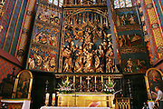 Krakow, Poland. Altar Pentateuch of St. Mary's Church in Main Market Square.