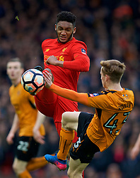 LIVERPOOL, ENGLAND - Saturday, January 28, 2017: Liverpool's Joe Gomez in action against Wolverhampton Wanderers' Connor Ronan during the FA Cup 4th Round match at Anfield. (Pic by David Rawcliffe/Propaganda)