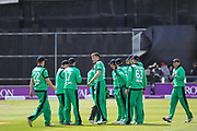 Ireland players celebrate the wicket of Jason Roy of England during the One Day International match between England and Ireland at the Brightside County Ground, Bristol, United Kingdom on 5 May 2017. Photo by Andrew Lewis.