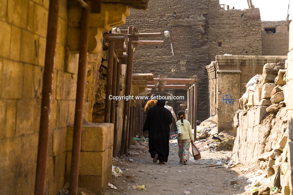 Egypt. Cairo -MUZAFIRKANA palace in ruins; Uda BASHI NM19,  in Gamalya area. Islamic cairo  Cairo +