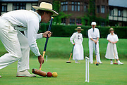 MA, Lenox, Blantyre Hotel, man playing croquet