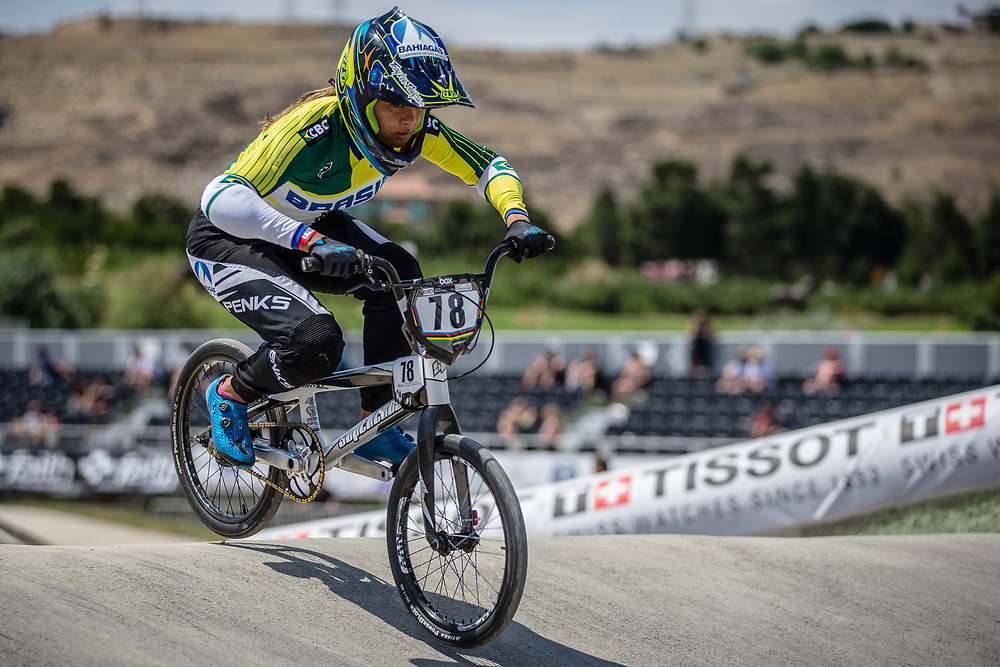 Women Elite #78 (REIS SANTOS Paola) BRA at the 2018 UCI BMX World Championships in Baku, Azerbaijan.