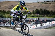 Women Elite #78 (REIS SANTOS Paola) BRA at the 2018 UCI BMX World Championships in Baku, Azerbaijan.