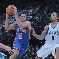06 October 2010: New York Knicks guard Landry Fields #6 drives past Minnesota Timberwolves forward Michael Beasley #8 during the Minnesota Timberwolves 106-100 victory over the New York Knicks, during 2010 NBA Europe Live, at the POPB Arena in Paris, France.