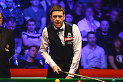 Ricky Walden eyes up a shot during the Snooker Players Championship Final at EventCity, Manchester, United Kingdom on 27 March 2016. Photo by Pete Burns.