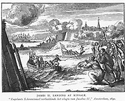 James II (1633-1701), king of Britain and Ireland, landing at Kinsale on 12 March 1689 with 6,000 French troops  . From 'Engelants Schouwtoneel .... Jacobus II', Amsterdam, 1690.