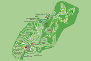 Vector map of Bethpage Golf Course for the USGA U.S. Open 2009. The Bethpage Black Course is a public golf course on Long Island, New York, the most difficult of the five courses at Bethpage State Park