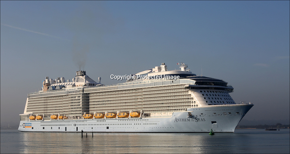 Anthem of the Seas arrives in Southampton. Wednesday 15th April 2015.<br /> <br /> Royal Caribbean's newest and most technologically<br /> advanced ship Anthem of the Seas arrives in Southampton where she will be named<br /> on Tuesday. In addition to being served drinks by robot bartenders, guests will<br /> be able to drive dodgems, learn circus skills, dine in the 18 onboard<br /> restaurants and enjoy spectacular ocean views from 300ft above the sea in the<br /> North Star viewing pod.