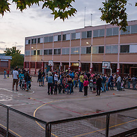 Vilafranca del Penedes, Catalonia, Spain. Saturday, 30 September 2017. People at the playground of Balta Elies public school. Parents and families are doing many kinds of activities at tomorrows Catalan referendum polling stations. Activists and families will spend the night inside their assigned polling stations as a measure to try to avoid the closure of the schools by the police. Vilafranca del Penedes, Catalonia, Spain.