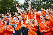 28.7.2015, Olympic Park Berlin. Field hockey (female) Argentina vs. Holland, first hockey game of the 14th European Maccabi Games. Dutch fans cheer for the team