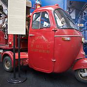 Ape Pentaro fire truck, Piaggio Museum, Pontedera, Tuscany, Italy