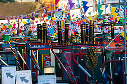 Day breaks at Little Venice in London where the annual May bank holiday Canalway Cavalcade narrowboat festival is taking place. London, May 06 2018.