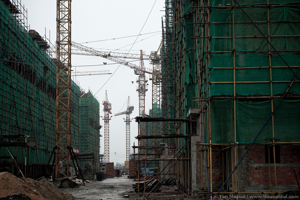 Apartment blocks under construction in Yangzhou, China, a suburb city of Shanghai and major producer of photovoltaic cells for solar power.