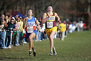 (111106  Jamaica Plain, MA)   Kelsey Karys, of Newton South, and Nicole Pearce, of Weymouth, run to the finish line at the MIAA Eastern Mass Divisional Cross Country Championships in Franklin Park.