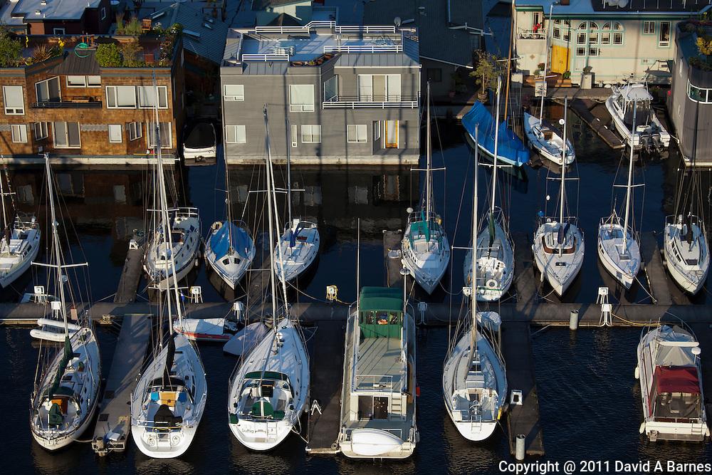 Boat moorage, houseboats, Lake Union, Seattle, Washington, USA