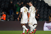 Hadi Sacko of Leeds United and Pierre-Michel Lasogga of Leeds United chat at full time during the EFL Sky Bet Championship match between Hull City and Leeds United at the KCOM Stadium, Kingston upon Hull, England on 30 January 2018. Photo by Paul Thompson.