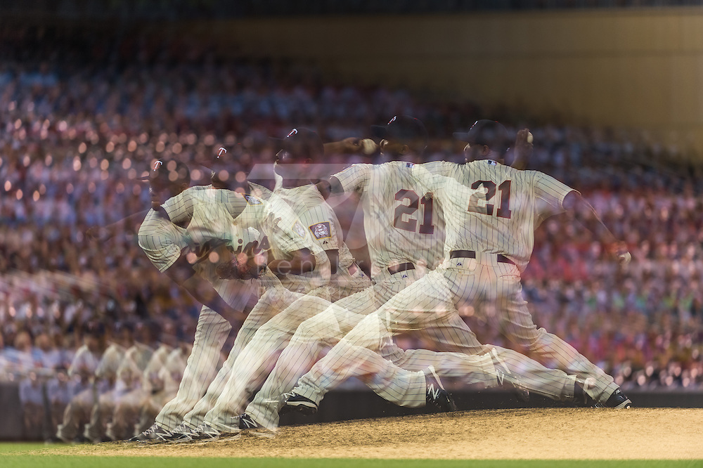 [Note: This photo was created by combining multiple exposures in-camera.] Samuel Deduno #21 of the Minnesota Twins pitches against the Milwaukee Brewers on May 29, 2013 at Target Field in Minneapolis, Minnesota.  The Twins defeated the Brewers 4 to 1.  Photo: Ben Krause