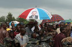 UMUTARA, RWANDA, OCTOBER 9, 2003: Rwandans gather to see their President Kagame speak in a village near Umutara, Rwanda, October 9, 2003. (Phot by Ami Vitale)