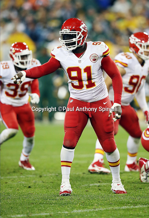 Kansas City Chiefs outside linebacker Tamba Hali (91) points during the 2015 NFL week 3 regular season football game against the Green Bay Packers on Monday, Sept. 28, 2015 in Green Bay, Wis. The Packers won the game 38-28. (©Paul Anthony Spinelli)