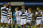 Forest Green Players Celebrate at the final whistle during the Vanarama National League match between Sutton United and Forest Green Rovers at Gander Green Lane, Sutton, United Kingdom on 14 March 2017. Photo by Adam Rivers.
