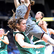 HARTFORD, CONNECTICUT- JANUARY 10: Ariadna Pujol #11 of the South Florida Bulls is called for a foul on Katie Lou Samuelson #33 of the Connecticut Huskies as she drives to the basket during the the UConn Huskies Vs USF Bulls, NCAA Women's Basketball game on January 10th, 2017 at the XL Center, Hartford, Connecticut. (Photo by Tim Clayton/Corbis via Getty Images)