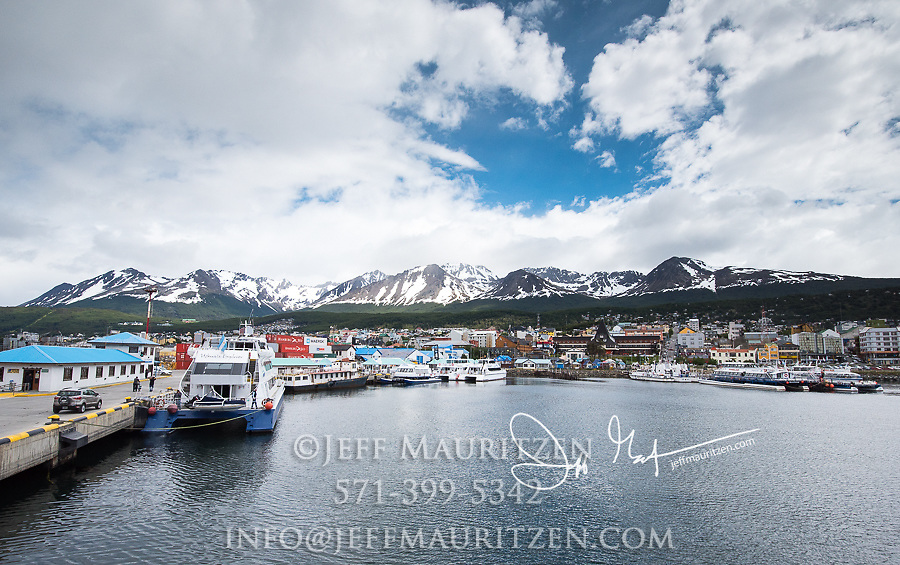 Boats docked in Ushuaia, Tierra Del Fuego, Patagonia, Argentina.