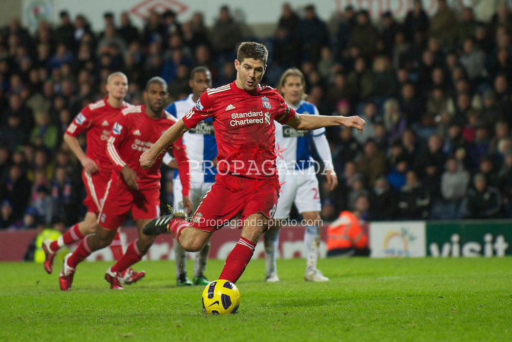 BLACKBURN, ENGLAND - Wednesday, January 5, 2011: Liverpool's captain Steven Gerrard MBE misses a penalty kick against Blackburn Rovers during the Premiership match at Ewood Park. (Pic by: David Rawcliffe/Propaganda)