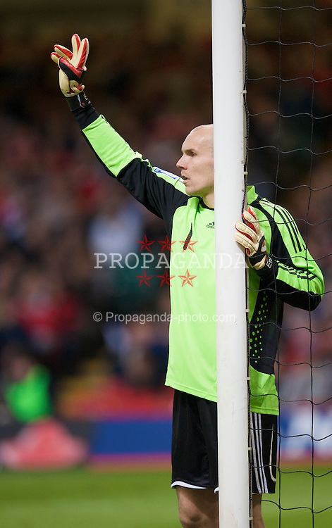 CARDIFF, WALES - Wednesday, April 1, 2009: Germany's goalkeeper Robert Enke in action against Wales during the 2010 FIFA World Cup Qualifying Group 4 match at the Millennium Stadium. (Pic by David Rawcliffe/Propaganda)
