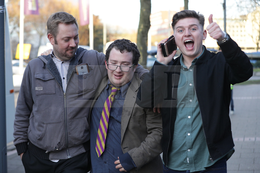 © Licensed to London News Pictures . 17/02/2018. Birmingham, UK. Happy UKIP supporters leave after Henry Bolton loses a vote on whether to retain or dismiss Bolton as leader is declared . The NEC of UKIP meet to decide leader Henry Bolton's fate as leader following a racism row over his girlfriend Jo Marney and controversy over his claimed qualifications whilst serving in the military . Photo credit: Joel Goodman/LNP
