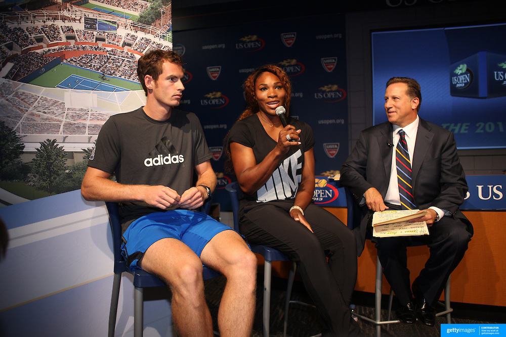 Defending US Open Champions Andy Murray and Serena Williams at the 2013 US Open draw ceremony. Flushing. New York, USA. 22nd August 2013. Photo Tim Clayton