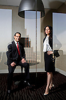 Thomas Lacombe, President, left,  and Flor Dimassi, CEO of Operations of GLOBAL SPEAK TRANSLATIONS, which provides translate services for oil and gas companies, Wednesday,  Oct. 29, 2014 in Houston. <br /> (Eric Kayne/For the Chronicle)