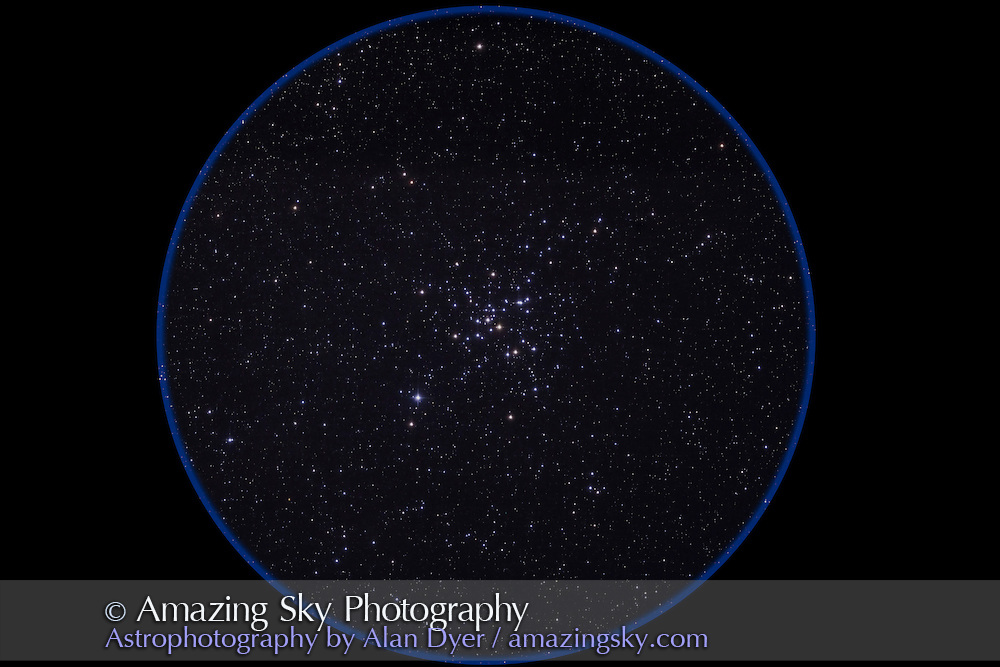Messier 41, open star cluster below Sirius in Canis Major. This is a stack of 4 x 6 minute exposures  at ISO 800 with the Canon 5D MkII and Astro-Physics Traveler 105mm apo refractor, shot from Timor Cottage, Coonabarabran, NSW, Australia, December 2012.