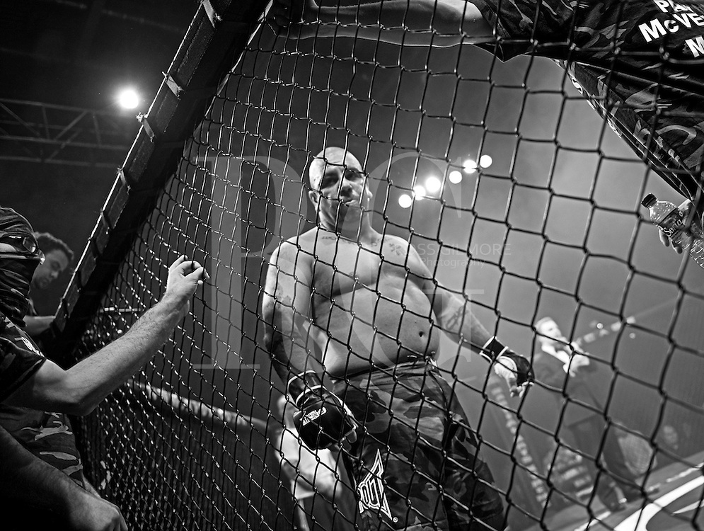 Cage Fighters in action during a Cage Wars competition held at Brahead arena in Glasgow, UK.MMA Fighters