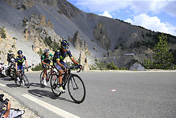 Nairo Quintana and Carlos Betancur (COL) Movistar Team, and Fabio Aru (ITA) Astana climb through the Caisse Deserte on Col d'Izoard during Stage 18 of the 104th edition of the Tour de France 2017, running 179.5km from Briancon to the summit of Col d'Izoard, France. 20th July 2017.<br /> Picture: Eoin Clarke | Cyclefile<br /> <br /> All photos usage must carry mandatory copyright credit (© Cyclefile | Eoin Clarke)