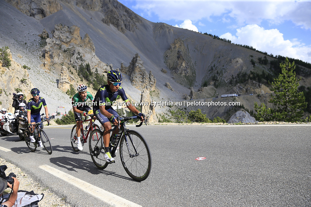 Nairo Quintana and Carlos Betancur (COL) Movistar Team, and Fabio Aru (ITA) Astana climb through the Caisse Deserte on Col d'Izoard during Stage 18 of the 104th edition of the Tour de France 2017, running 179.5km from Briancon to the summit of Col d'Izoard, France. 20th July 2017.<br /> Picture: Eoin Clarke | Cyclefile<br /> <br /> All photos usage must carry mandatory copyright credit (&copy; Cyclefile | Eoin Clarke)