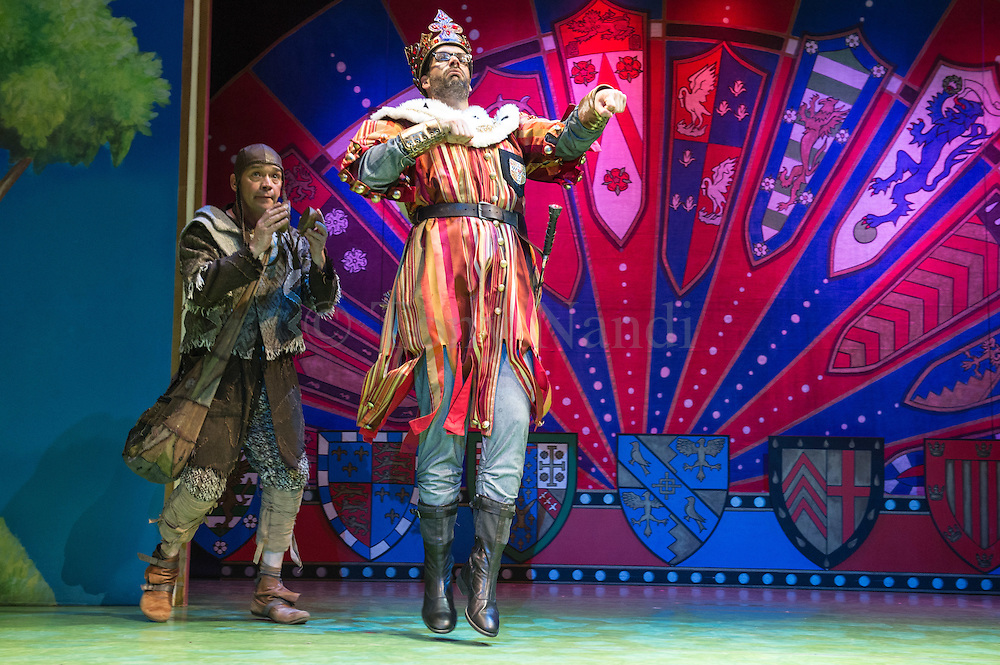 Lovingly ripped off from the classic film comedy Monty Python and the Holy Grail, Spamalot is making a triumphant return to the London West End, at the Harold Pinter Theatre. Featuring Jon Culshaw as King Arthur, Marcus Brigstock as Sir Lancelot, Bonnie Langford as The Lady of the Lake and Todd Carty as Patsy. Picture shows Todd Carty and Marcus Brigstocke.