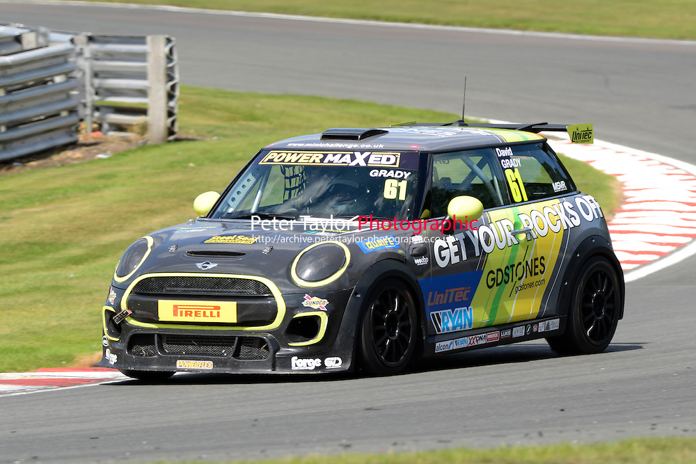 #61 David Grady Mini F56 during Power Maxed Mini Challenge - F56/JCW - Race 1 as part of the Mini Festival  at Oulton Park, Little Budworth, Cheshire, United Kingdom. August 08 2015. World Copyright Peter Taylor. Copy of publication required for printed pictures.  Every used picture is fee-liable. http://archive.petertaylor-photographic.co.uk
