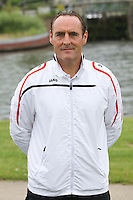Kortrijk's new head coach Yves Vanderhaeghe poses for the photographer during the 2014-2015 season photo shoot of Belgian first league soccer team KV Kortrijk, Tuesday 08 July 2014 in Kortrijk.