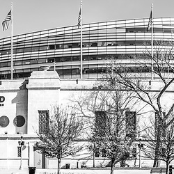 Chicago Soldier Field stadium black and white panorama photo. Soldier Field is home to the Chicago Bears NFL football team. Panoramic photo ratio is 1:3. Copyright ⓒ 2015 Paul Velgos with All Rights Reserved.