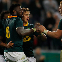 Siya Kolisi of South Africa with Andries Coetzee of South Africa during the 2nd Castle Lager Incoming Series Test match between South Africa and France at Growthpoint Kings Park on June 17, 2017 in Durban, South Africa. (Photo by Steve Haag Sports)