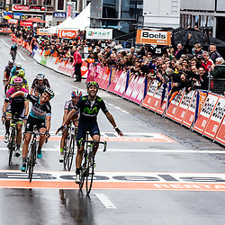 Differing emotions at the finish line of Liège-Bastogne-Liège.